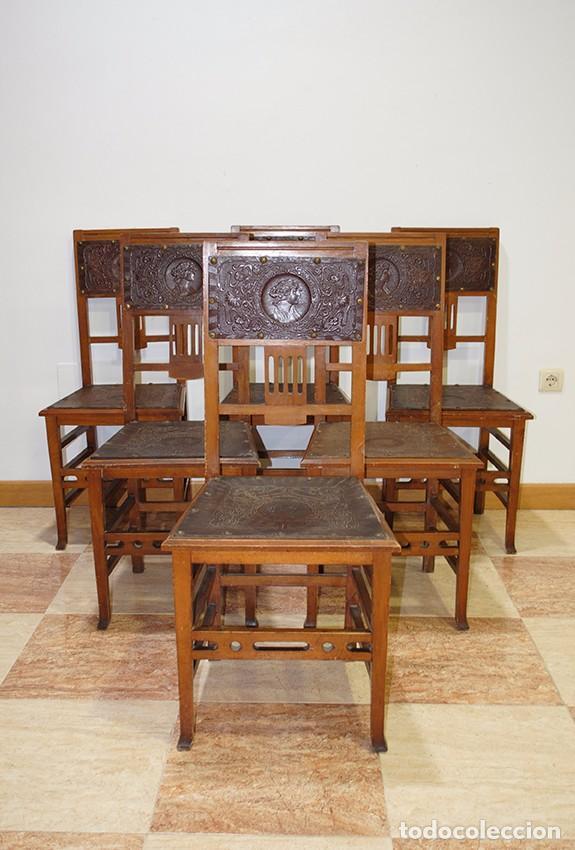 SILLERÍA ANTIGUA ESTILO MODERNISTA (Antigüedades - Muebles Antiguos - Sillas Antiguas)