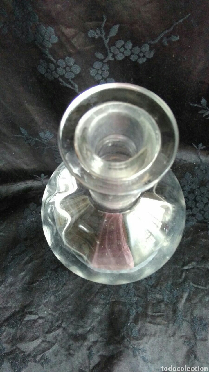 Antigüedades: Botella cristal lobulado trabajado a mano de Santa Lucia Cartagena 15,5 cm - Foto 3 - 89335071