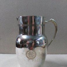 Antigüedades: JARRA EN METAL PLATEADO CON INICIALES EH CON CORONA LAUREADA. Lote 89422620