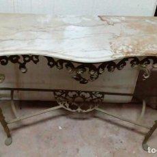 Antigüedades: PRECIOSA CONSOLA EN BRONCE Y MARMOL BISELADO.. Lote 89428784