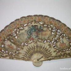 Antigüedades: ANTIGUO Y BONITO ABANICO DE MARFIL...DECORADO AMBAS CARAS A MANO Y FIRMADO...SIGLO XIX.. Lote 89434708