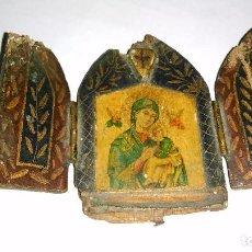 Antigüedades: ANTIGUO MINI RETABLO DE MADERA VIRGEN DEL PERPETUO SOCORRO. Lote 89437084