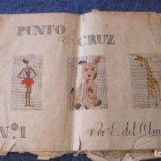 Antigüedades: CUADERNO DE MODELOS DE PUNTO DE CRUZ, Nº 1, E. DEL OLMO, AÑOS 40, LIBRERIA AFRODISIO AGUADO.. Lote 89443612