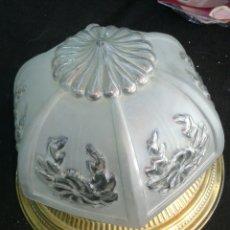 Antigüedades: LAMPARA PLAFON EN METAL DORADO. Lote 89476700