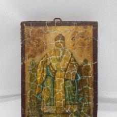 Antigüedades: ANTIGUO RETABLO DE MADERA RECUBIERTA DE ESTUCO CON IMAGEN ORTODOXA O BIZANTINA.. Lote 89501884