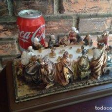 Antigüedades: FIGURA ESCULTURA ÚLTIMA CENA JESÚS DE NAZARET Y LOS DOCE APOSTOLES, 25 CM PINTADO A MANO.. Lote 89503100
