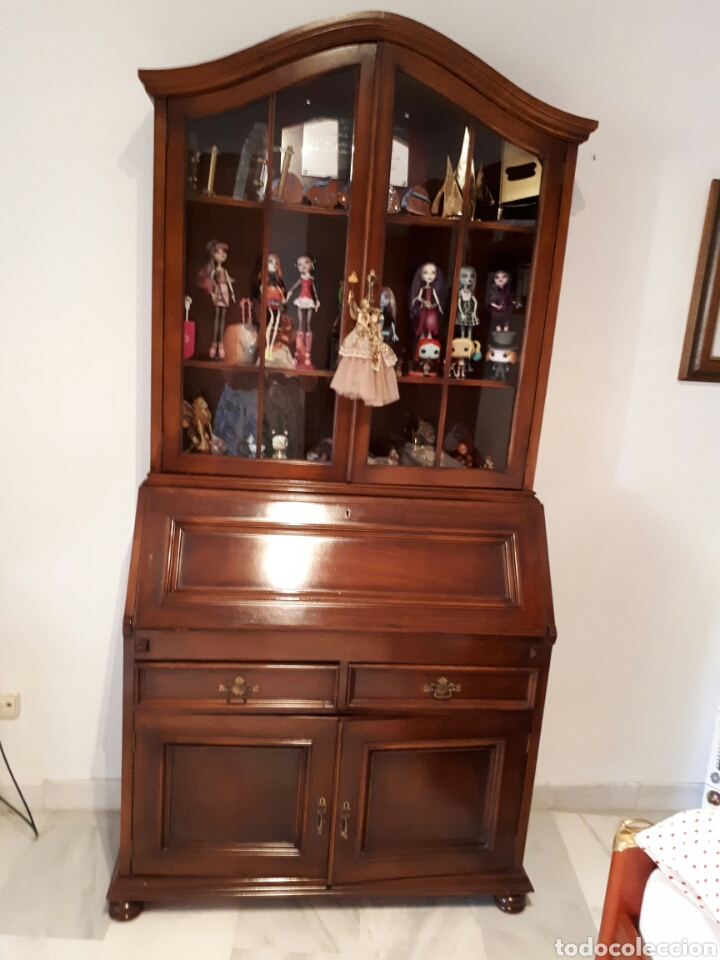 Secreter antiguo con vitrina comprar escritorios antiguos en todocoleccion 89557560 - Mueble secreter ...