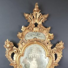Antigüedades: ESPEJO. ESTILO LUIS XVI. MADERA ESTOFADA EN ORO. CRISTAL LA GRANJA. SIGLO XIX. . Lote 89649076