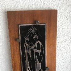 Antigüedades: CUADRO RELIGIOSO, PLATA DE LEY, INSCRUSTADO A MANO. VER FOTOS ANEXAS.. Lote 89669696