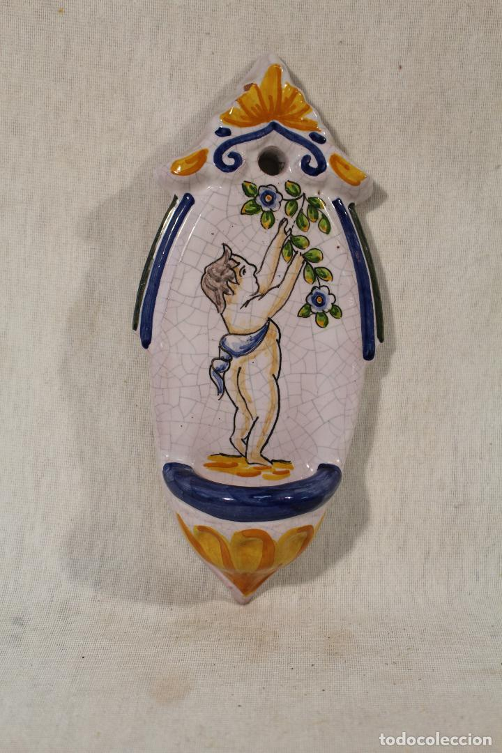 Antigüedades: benditera en ceramica de talavera - Foto 3 - 89706896