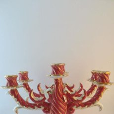 Antigüedades: PAREJA DE CANDELABROS CERAMICA DE MANISES. Lote 89737180