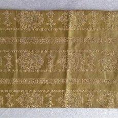 Antigüedades: ANTIGUO TAPETE DE SEDA BROCADA Y FLECOS. Lote 89780084
