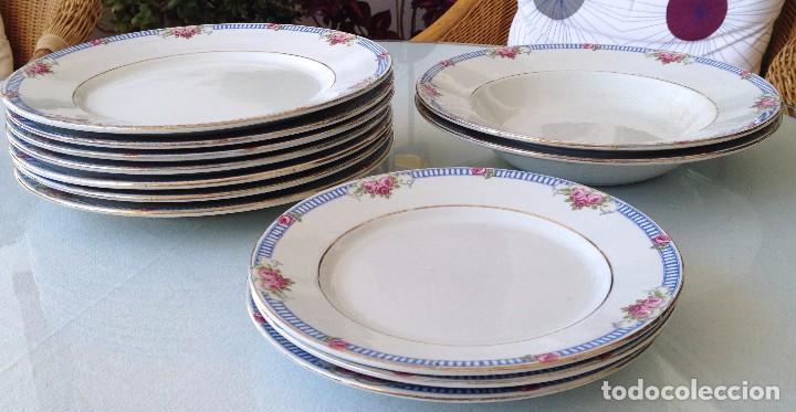 Antigüedades: Conjunto de 12 platos de cerámica antigua Sandeman Macdougall.Sello fábrica y tinta porcelana opaca - Foto 2 - 89789388