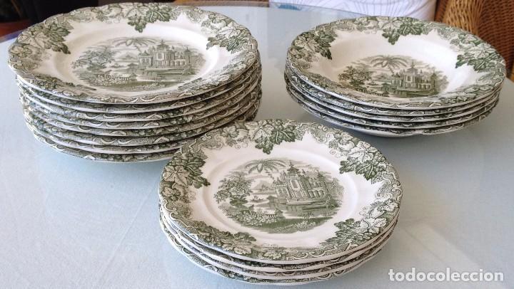 Lote vajilla antigua 17 platos cer mica la cart comprar for Vajilla la cartuja