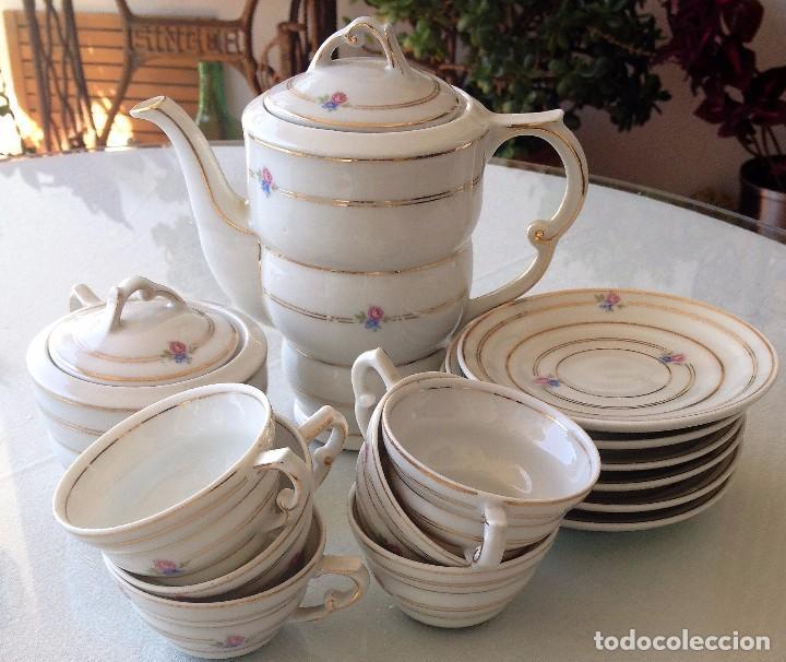 Antigüedades: Precioso y coqueto conjunto cafetera+azucarera+tacitas Santa Clara - Foto 2 - 89792236