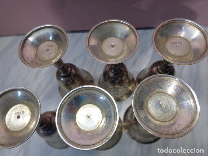 Antigüedades: lote de 6 copas de licor - metal plateado - platerias e.p.n.s - plata epns - Foto 2 - 104928643
