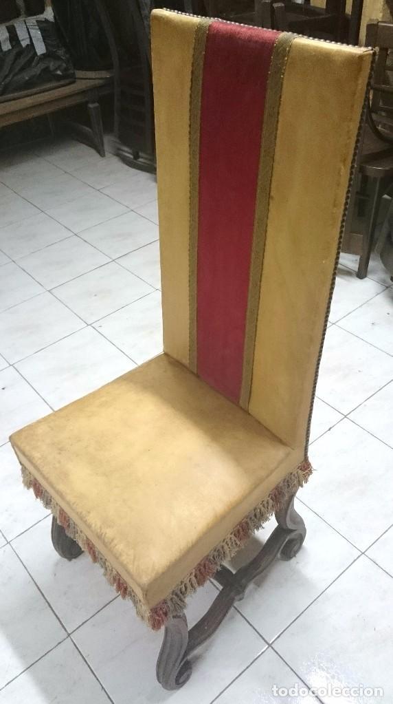 Antigüedades: Antigua silla, sillón de piel estilo imperio. En madera de nogal castellano. Siglo XIX. - Foto 2 - 89836672