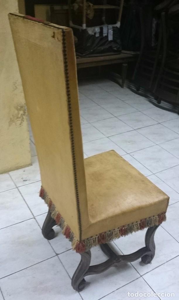 Antigüedades: Antigua silla, sillón de piel estilo imperio. En madera de nogal castellano. Siglo XIX. - Foto 4 - 89836672