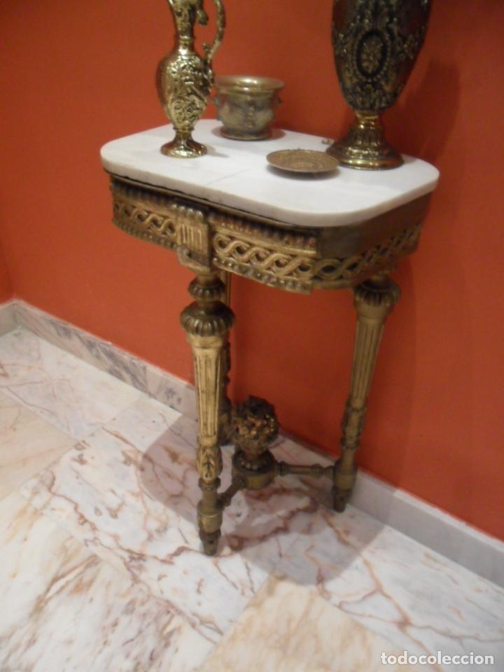 Antigüedades: CONSOLA EN MADERA TALLADA Y ACABADO EN PAN DE ORO SIGLO XVIII - Foto 14 - 87912324