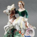 Antigüedades: MUJER A CABALLO PORCELANA STAFFORDSHIRE S XIX. Lote 90028252