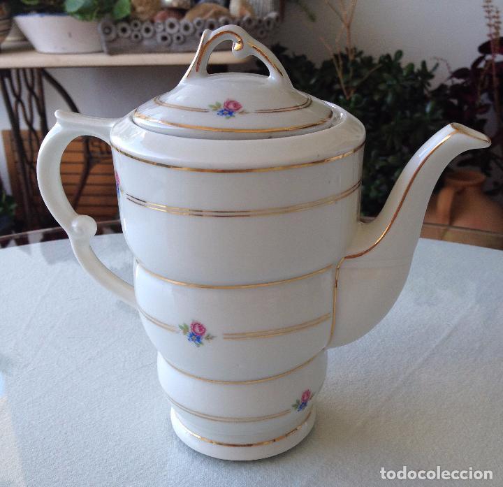 Antigüedades: Precioso y coqueto conjunto cafetera+azucarera+tacitas Santa Clara - Foto 5 - 89792236