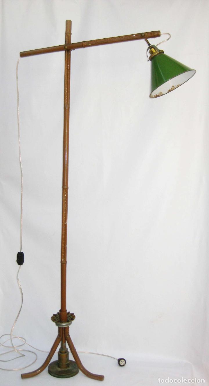 EXCEPCIONAL LAMPARA DE ATELIER ANTIGUA INDUSTRIAL EN HIERRO FALSO BAMBU DECORACION VINTAGE (Antigüedades - Iluminación - Lámparas Antiguas)