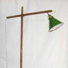 Antigüedades: EXCEPCIONAL LAMPARA DE ATELIER ANTIGUA INDUSTRIAL EN HIERRO FALSO BAMBU DECORACION VINTAGE. Lote 81566748
