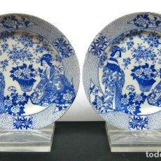 Antigüedades: S. XIX . PAREJA DE PLATOS EN PORCELANA ORIENTAL BLUE & WHITE . SELLO MARCAS EN LA BASE. Lote 102010898
