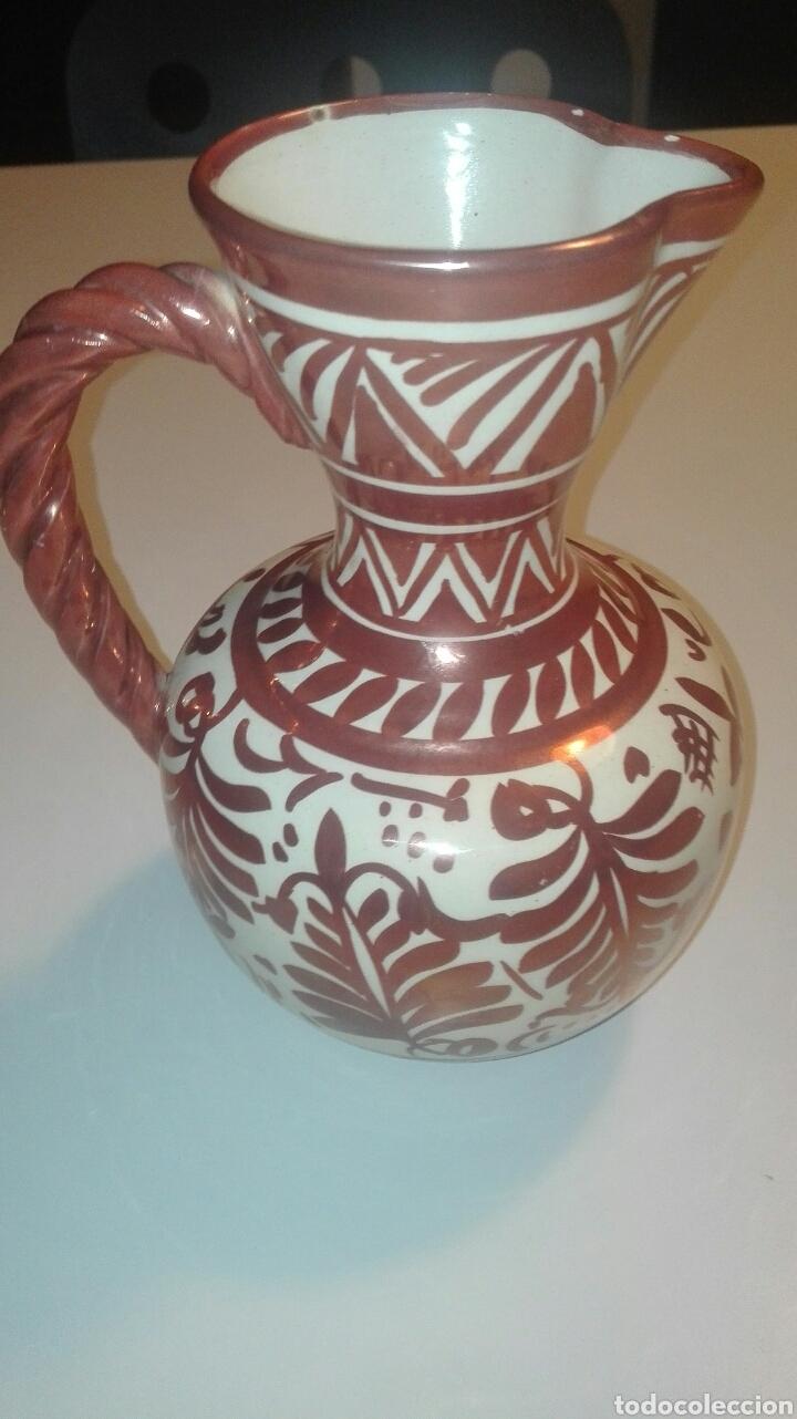 JARRA CERAMICA MANISES CON REFLEJO FIRMADA GIMENO RIOS (Antigüedades - Porcelanas y Cerámicas - Manises)