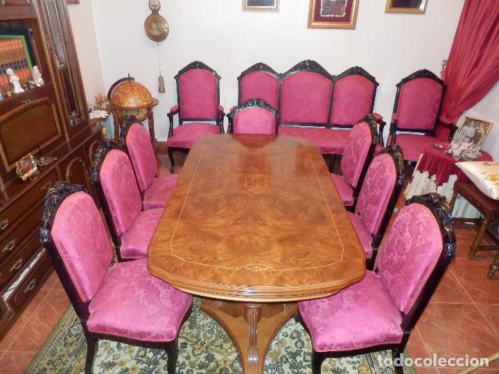 CONJUNTO DE SILLERIA ANTIGUA 10 PIEZAS SILLA COMEDOR VINTAGE (Antigüedades - Muebles Antiguos - Sillas Antiguas)