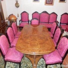 Antigüedades: CONJUNTO DE SILLERIA ANTIGUA 10 PIEZAS SILLA COMEDOR VINTAGE. Lote 90298044