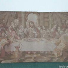 Antigüedades: ANTIGUO TAPIZ ULTIMA CENA DE JESUS MEDIDA 60X100CM EXCELENTE ESTADO. Lote 90386215