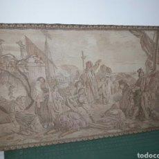 Antigüedades: ANTIGUO TAPIZ ESCENA MERCANTIL MEDIDA 59.50X100CM EXCELENTE ESTADO. Lote 90386438