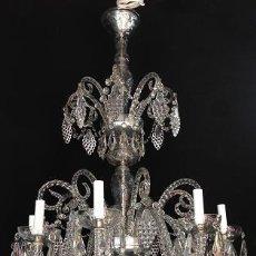 Antigüedades: LAMPARA 8 LUCES CRISTAL DE LA GRANJA PLAQUETAS RACIMOS UVAS. Lote 90437204