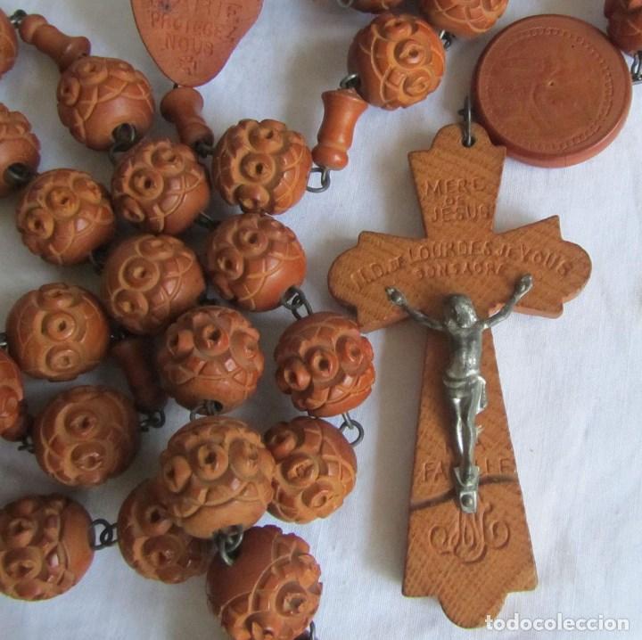 GRAN ROSARIO DE MADERA DE LA VIRGEN DE LOURDES (Antigüedades - Religiosas - Rosarios Antiguos)