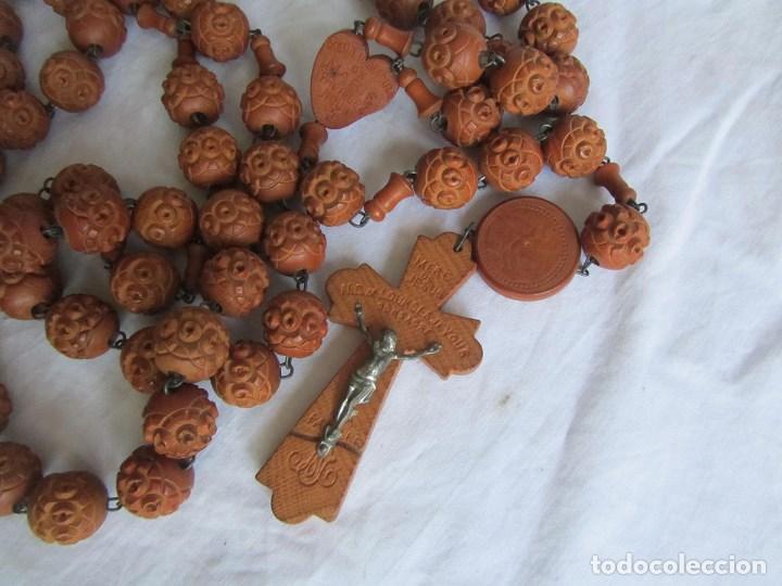 Antigüedades: Gran rosario de madera de la Virgen de Lourdes - Foto 3 - 90461294