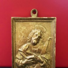 Antigüedades: SAN JOSÉ. BONITA PLACA DEVOCIONAL RECTANGULAR DE BRONCE. S.XIX.. Lote 90487622