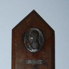 Antigüedades: BENDITERA DE MADERA, METAL Y CRISTAL - NUESTRA SEÑORA DE LOURDES - VIRGEN. Lote 90516900