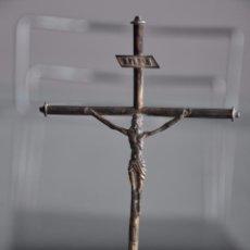 Antigüedades: CRISTO EN LA CRUZ , REALIZADO EN PLATA DE LEY CONTRASTADO . 16,5 CM. DE ALTO. Lote 90518540