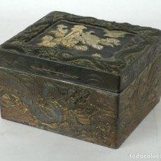 Antigüedades - Caja japonesa en estaño y madera lacada con aplicaciones en marfil finales siglo XIX - 90547135
