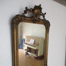 Antigüedades: ANTIGUO ESPEJO - CORNUCOPIA - FRANCIA - MADERA TALLADA - DORADA CON PAN DE ORO - S. XIX. Lote 135420514