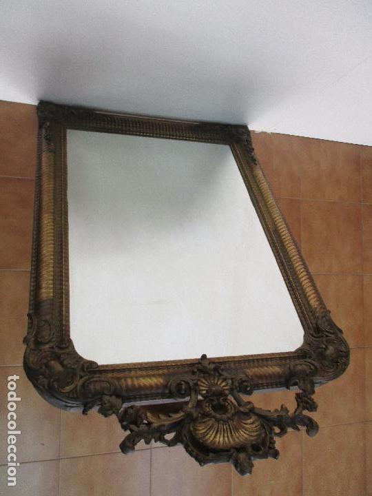 Antigüedades: Antiguo Espejo - Cornucopia - Francia - Madera Tallada - Dorada con Pan de Oro - S. XIX - Foto 10 - 90576895