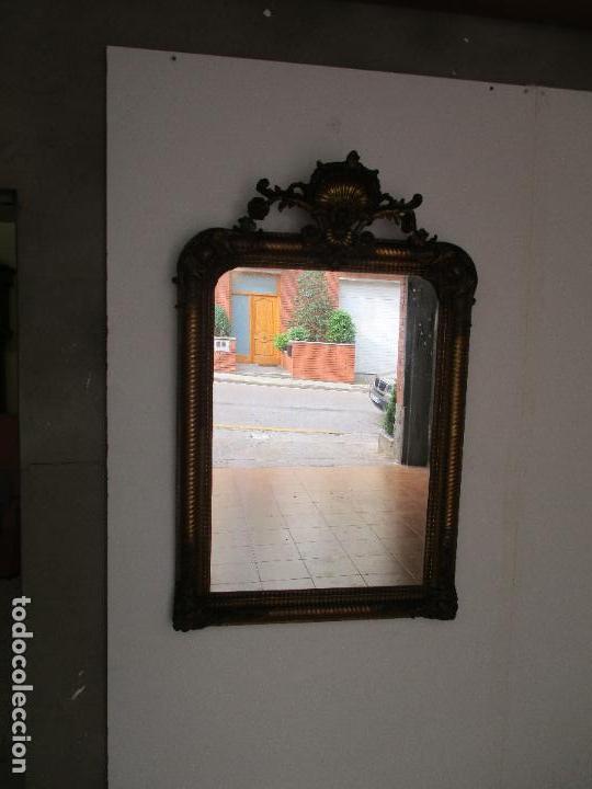 Antigüedades: Antiguo Espejo - Cornucopia - Francia - Madera Tallada - Dorada con Pan de Oro - S. XIX - Foto 11 - 90576895