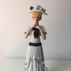 Antigüedades: PRECIOSA FIGURA EN PORCELANA BISCUIT, DAMA DE ÉPOCA. Lote 90580905