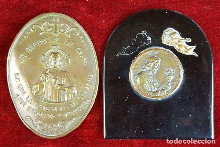 Antigüedades: COLECCION DE 19 ORNAMENTOS RELIGIOSOS. METAL Y RESINA. SIGLO XIX-XX. - Foto 4 - 90622305