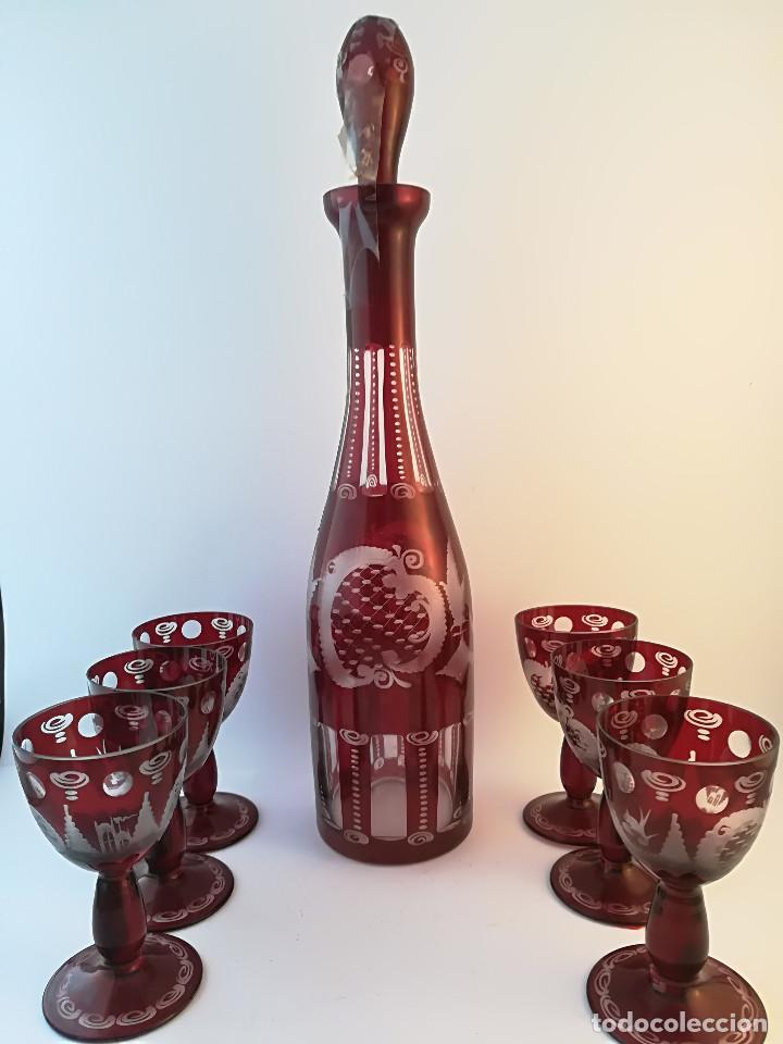 LICORERA Y 6 COPAS CRISTAL DE BOHEMIA (Antigüedades - Cristal y Vidrio - Bohemia)