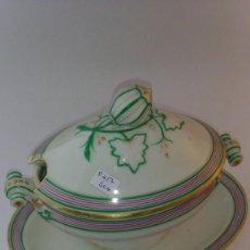 Antigüedades: SALSERA CUBIERTA OVALADA LOZA DE GIJON. Lote 90632110