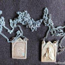Antigüedades: MEDALLA ESCAPULARIO VIRGEN DEL CARMEN Y EN EL REVERSO SAGRADO CORAZON DE JESUS. Lote 90634150