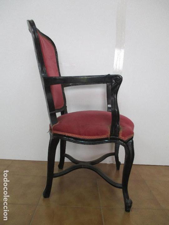 Antigüedades: Lote de 10 Sillones - Estilo Luis XV - Madera Tallada - Laca Negra - Tapizados - Principios S. XX - Foto 3 - 90692005