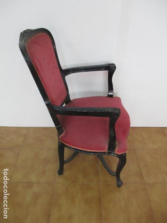 Antigüedades: Lote de 6 Sillones - Estilo Luis XV - Madera Tallada - Laca Negra - Tapizados - Principios S. XX - Foto 3 - 112942900